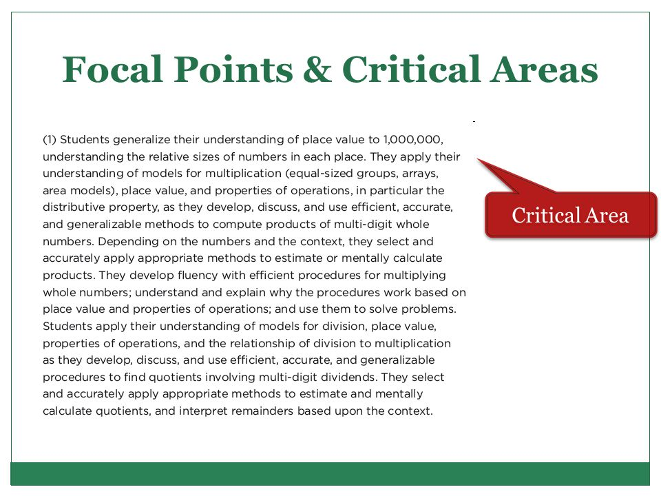 Focal Points & Critical Areas Critical Area