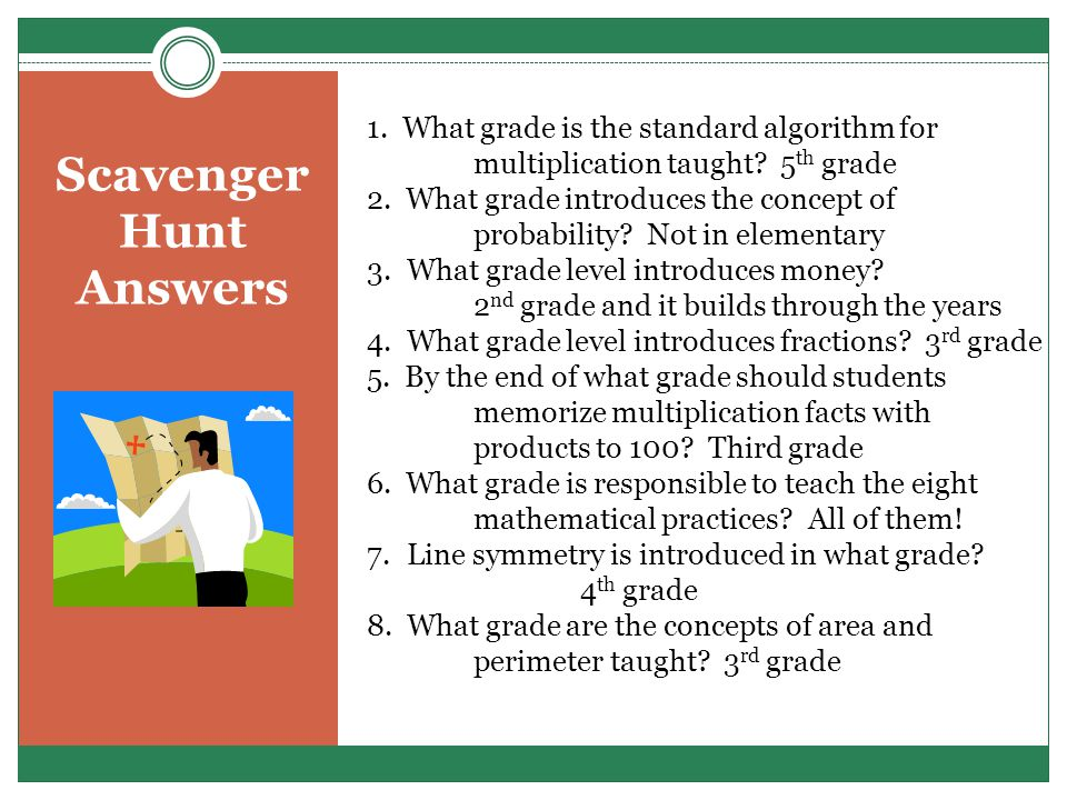 Scavenger Hunt Answers 1. What grade is the standard algorithm for multiplication taught? 5 th grade 2. What grade introduces the concept of probabili