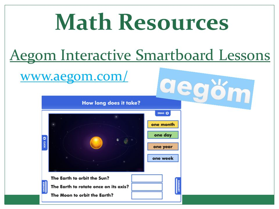 Math Resources Aegom Interactive Smartboard Lessons www.aegom.com/