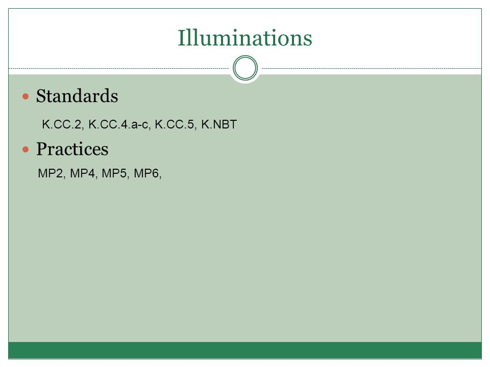 Illuminations Standards Practices K.CC.2, K.CC.4.a-c, K.CC.5, K.NBT MP2, MP4, MP5, MP6,