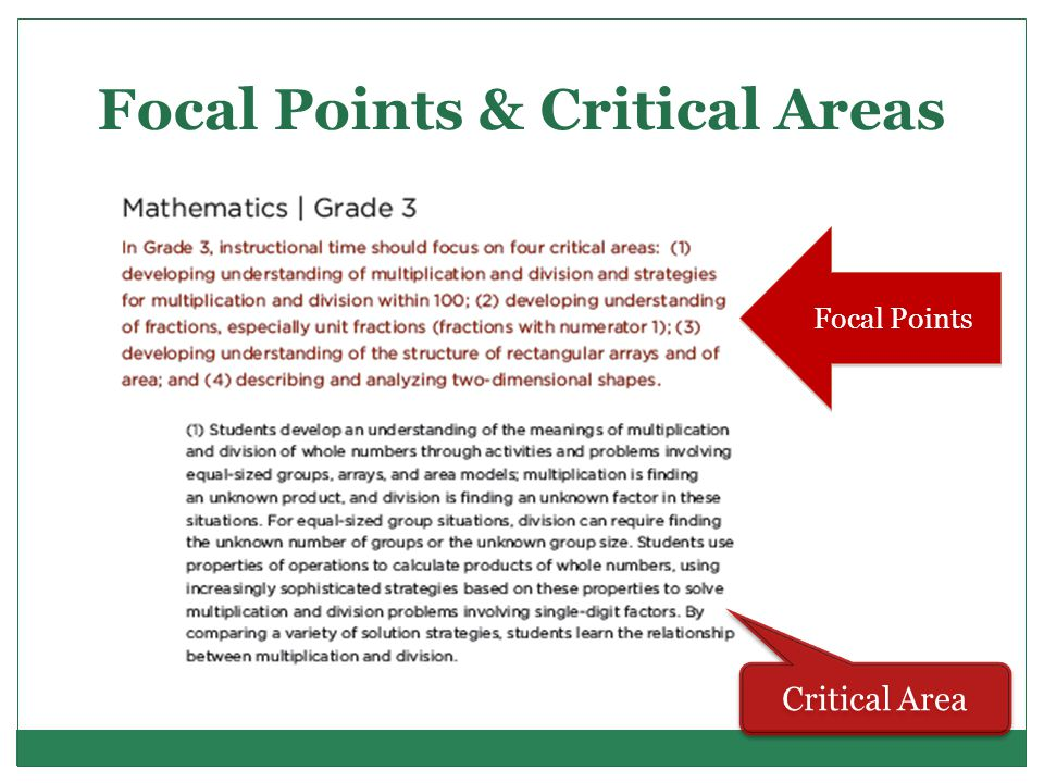 Focal Points & Critical Areas Focal Points Critical Area