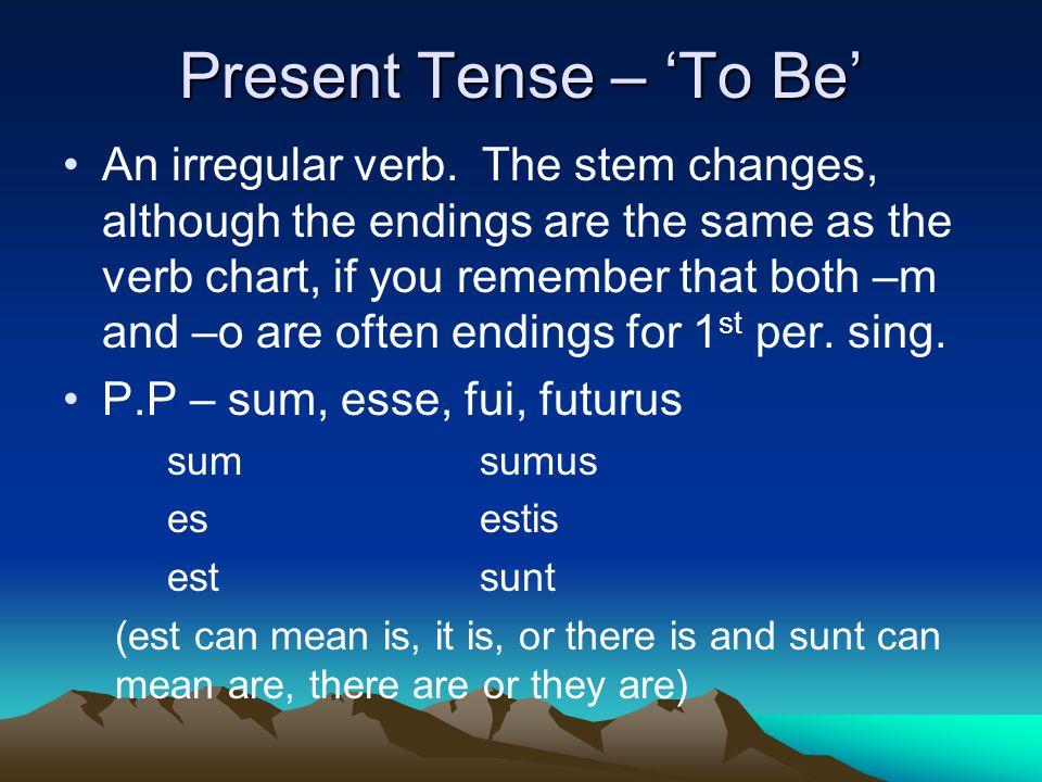 Present Tense – 'To Be' An irregular verb.