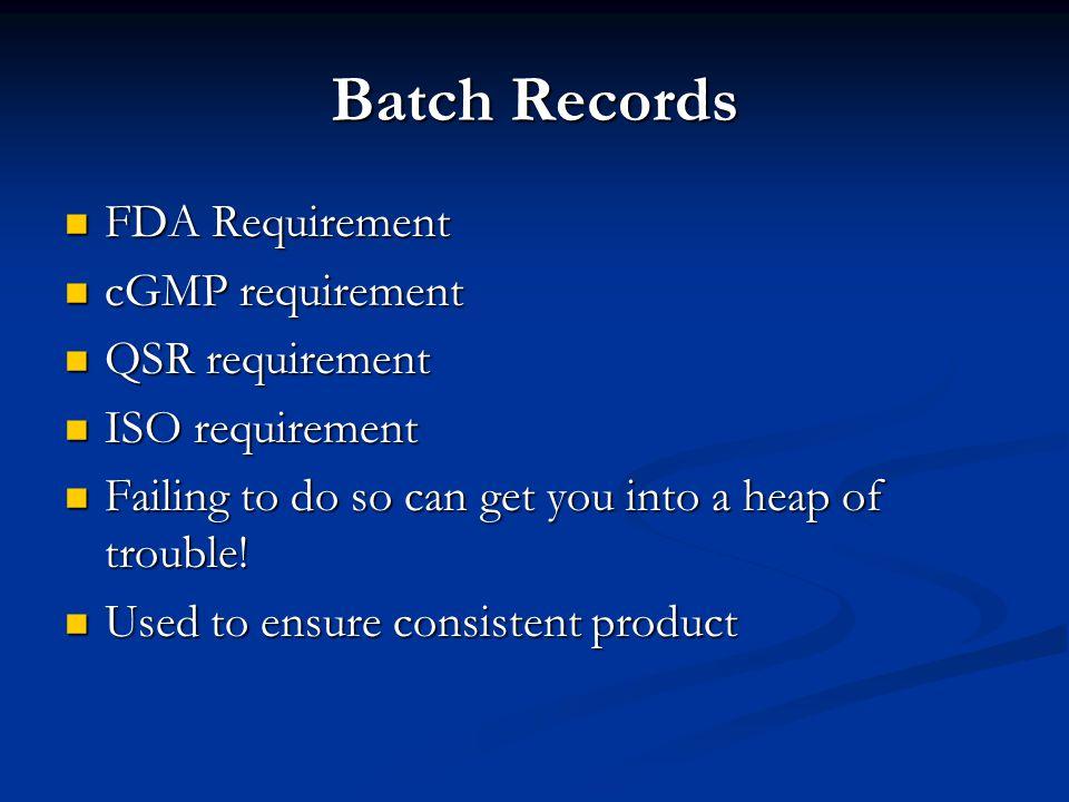 Batch Records FDA Requirement FDA Requirement cGMP requirement cGMP requirement QSR requirement QSR requirement ISO requirement ISO requirement Failin