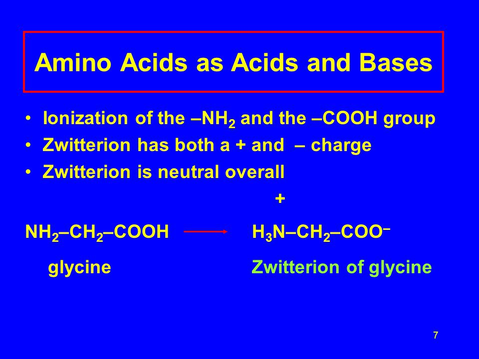 7 Amino Acids as Acids and Bases Ionization of the –NH 2 and the –COOH group Zwitterion has both a + and – charge Zwitterion is neutral overall + NH 2 –CH 2 –COOH H 3 N–CH 2 –COO – glycine Zwitterion of glycine