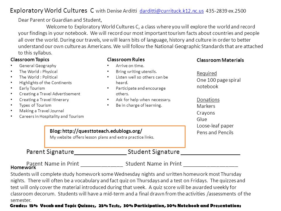 Exploratory World Cultures C with Denise Arditti darditti@currituck.k12.nc.us 435-2839 ex.2500darditti@currituck.k12.nc.us Classroom Rules Arrive on t
