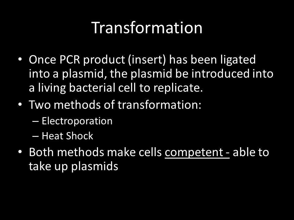 Transformation Once PCR product (insert) has been ligated into a plasmid, the plasmid be introduced into a living bacterial cell to replicate. Two met
