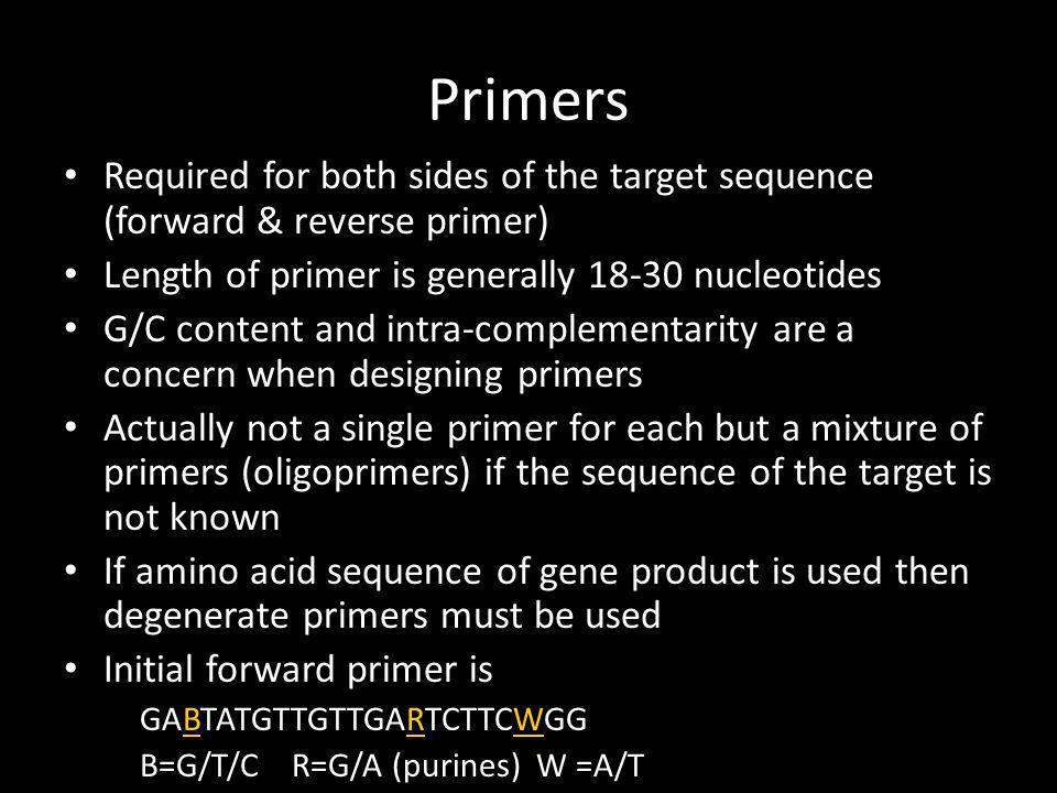 Nested PCR Initial PCR primers are degenerate and based on a consensus sequence The chances that the initial primers will bind to sequences other than the target are high A second set of primers designed to be more specific to target is used They are nested within the initial primers and are not degenerate thus much more specific to the target gene