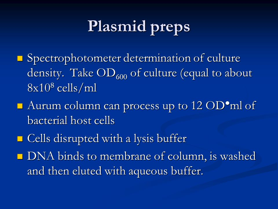 Plasmid preps Spectrophotometer determination of culture density. Take OD 600 of culture (equal to about 8x10 8 cells/ml Spectrophotometer determinati