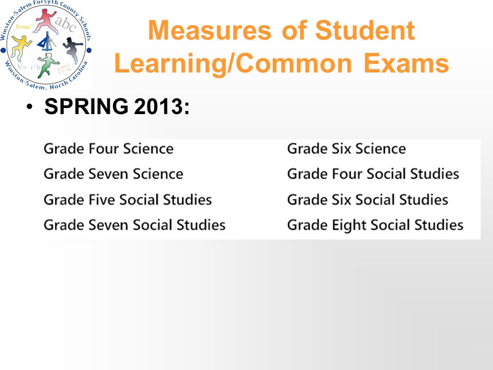 Measures of Student Learning/Common Exams SPRING 2013: