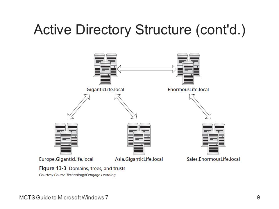 Active Directory Structure (cont d.) Server Roles –Within Active Directory Windows servers can be either a member server or a domain controller –Member servers are integrated into Active Directory Can participate in the domain by sharing files and printers with domain users –Domain controller is a server that stores a copy of Active Directory information MCTS Guide to Microsoft Windows 710