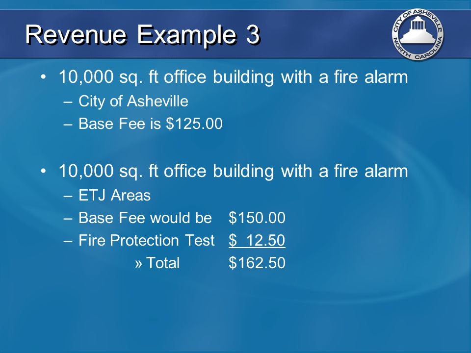 Revenue Example 3 10,000 sq. ft office building with a fire alarm –City of Asheville –Base Fee is $125.00 10,000 sq. ft office building with a fire al