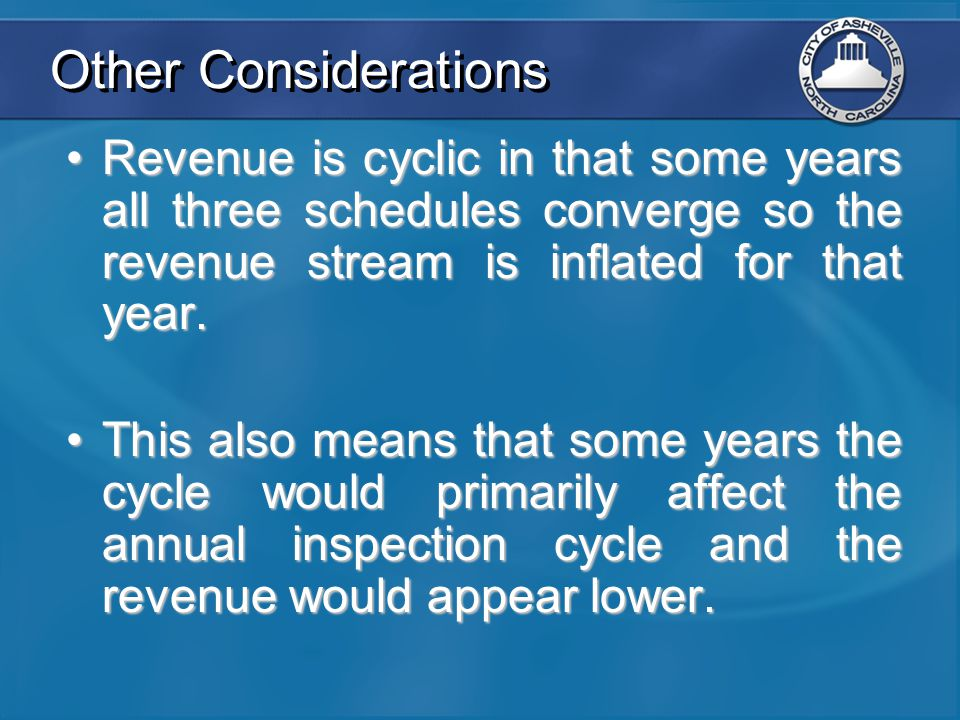 Other Considerations Revenue is cyclic in that some years all three schedules converge so the revenue stream is inflated for that year.Revenue is cycl