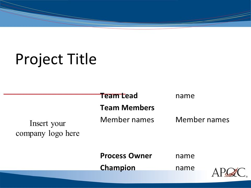 Project Title Team Leadname Team MembersMember names Process Ownername Championname Insert your company logo here