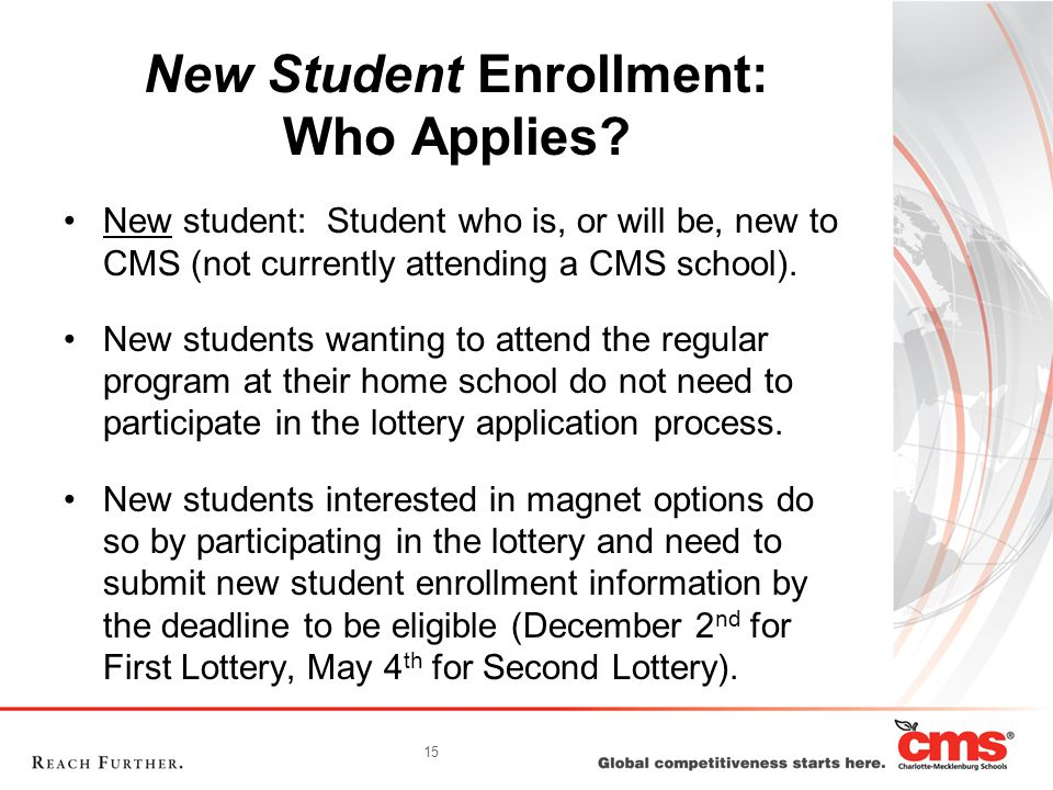 15 New Student Enrollment: Who Applies.
