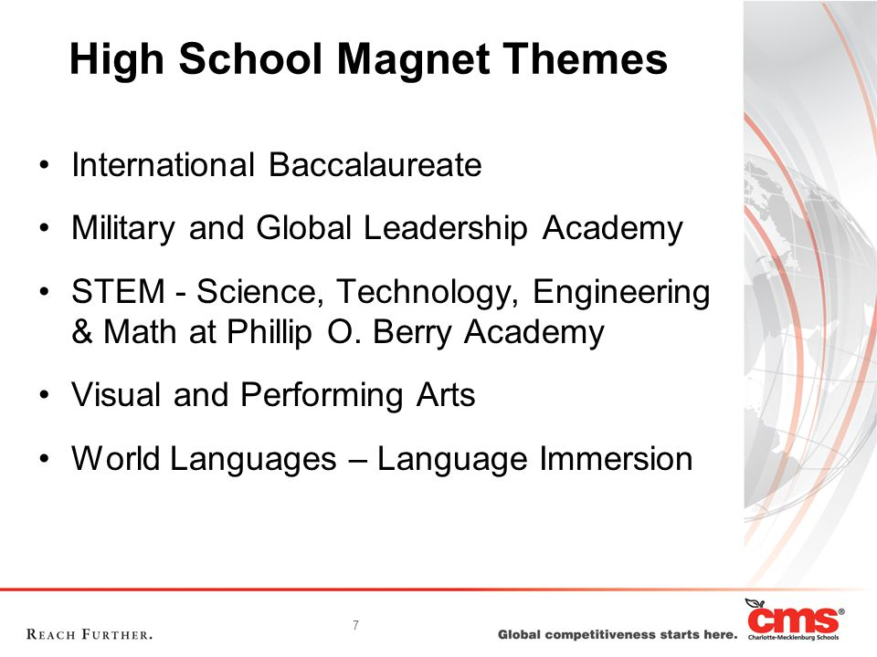 7 High School Magnet Themes International Baccalaureate Military and Global Leadership Academy STEM - Science, Technology, Engineering & Math at Phillip O.