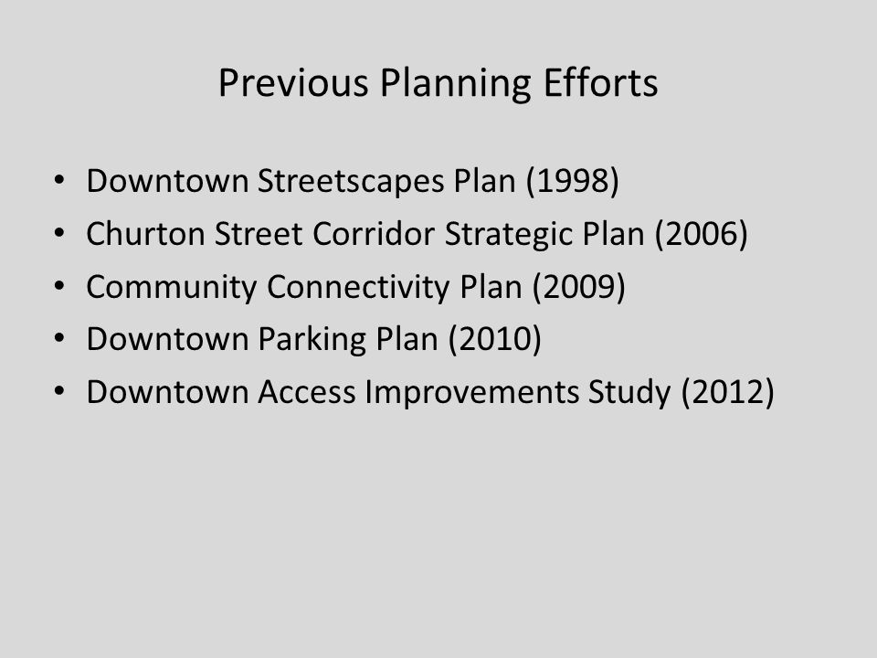 Goals Address sidewalk safety issues Promote traffic circulation Reduce vehicle-pedestrian conflicts Advance handicap accessibility Improve parking conditions Create loading zones Enhance pedestrian environment Increase street trees and landscaping Upgrade existing infrastructure