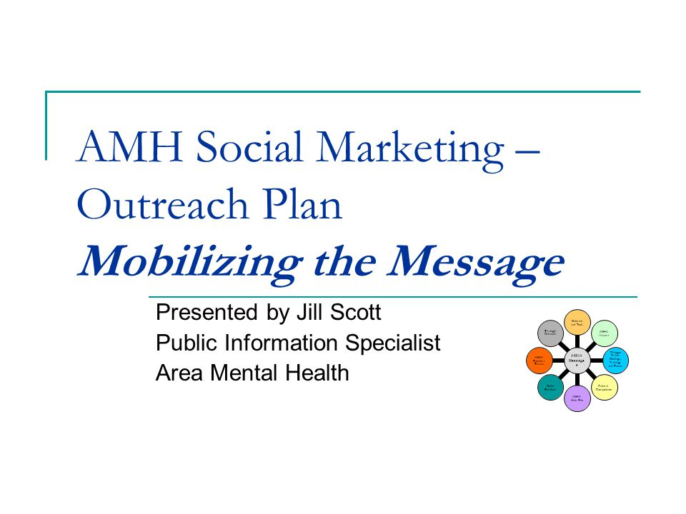 AMH Social Marketing – Outreach Plan Mobilizing the Message Presented by Jill Scott Public Information Specialist Area Mental Health AMHA Message s Materials and Tools AMHA Listserv Dialogue Driven Meetings, Trainings and Events Cultural Compete nce AMHA Web Site Media Relations AMHA Speakers Bureau Strategic Outreach