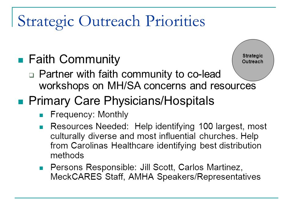 Strategic Outreach Priorities Faith Community  Partner with faith community to co-lead workshops on MH/SA concerns and resources Primary Care Physicians/Hospitals Frequency: Monthly Resources Needed: Help identifying 100 largest, most culturally diverse and most influential churches.