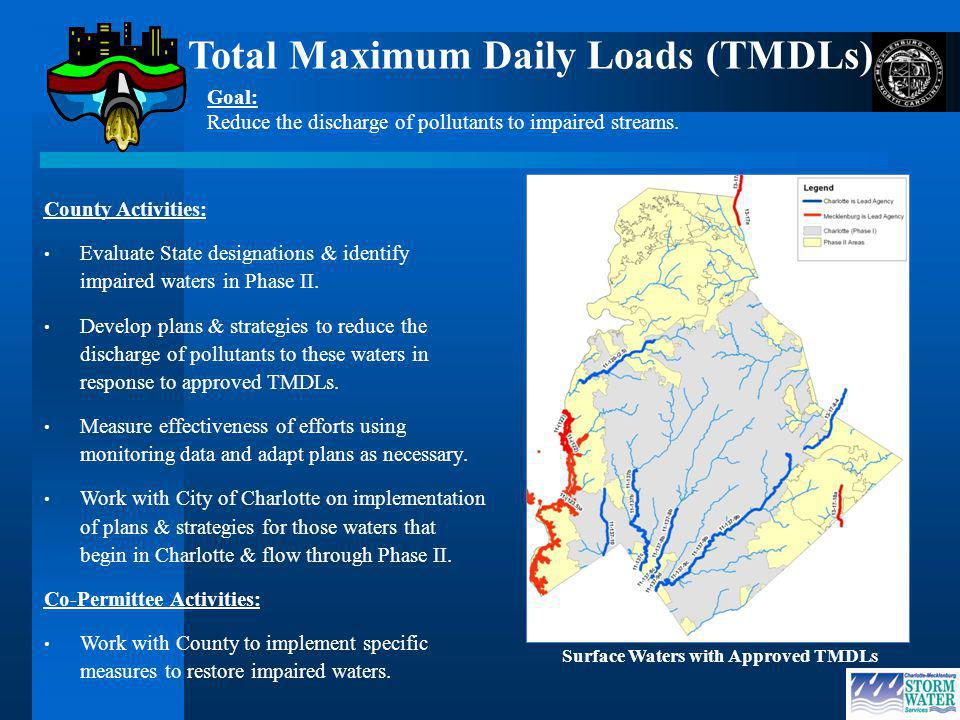 Surface Waters with Approved TMDLs County Activities: Evaluate State designations & identify impaired waters in Phase II.