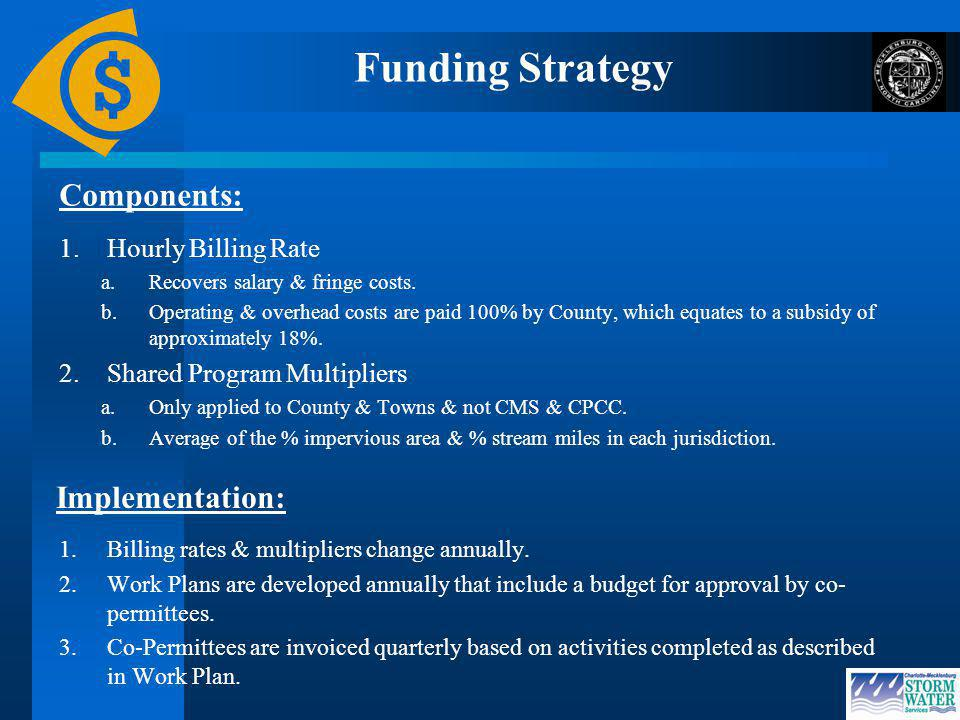 Funding Strategy Components: 1.Hourly Billing Rate a.Recovers salary & fringe costs.