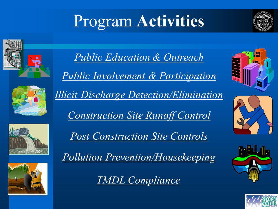 Program Activities Public Education & Outreach Construction Site Runoff Control Post Construction Site Controls Pollution Prevention/Housekeeping Illicit Discharge Detection/Elimination Public Involvement & Participation TMDL Compliance