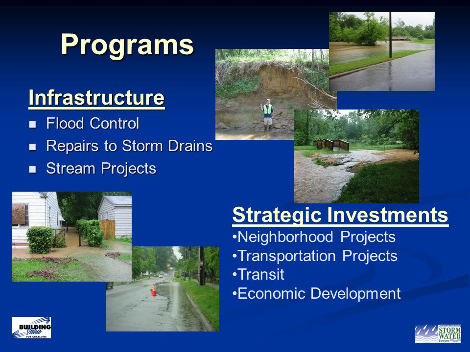 1 Programs Programs Infrastructure Flood Control Flood Control Repairs to Storm Drains Repairs to Storm Drains Stream Projects Stream Projects Strategic Investments Neighborhood Projects Transportation Projects Transit Economic Development