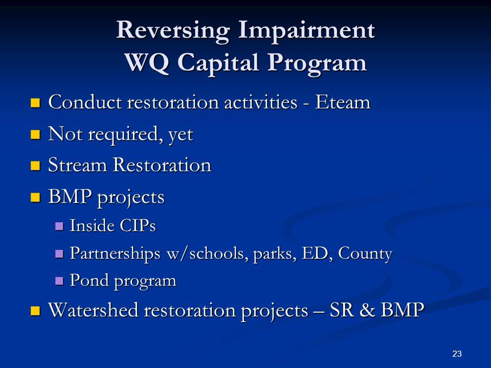 23 Reversing Impairment WQ Capital Program Conduct restoration activities - Eteam Conduct restoration activities - Eteam Not required, yet Not require