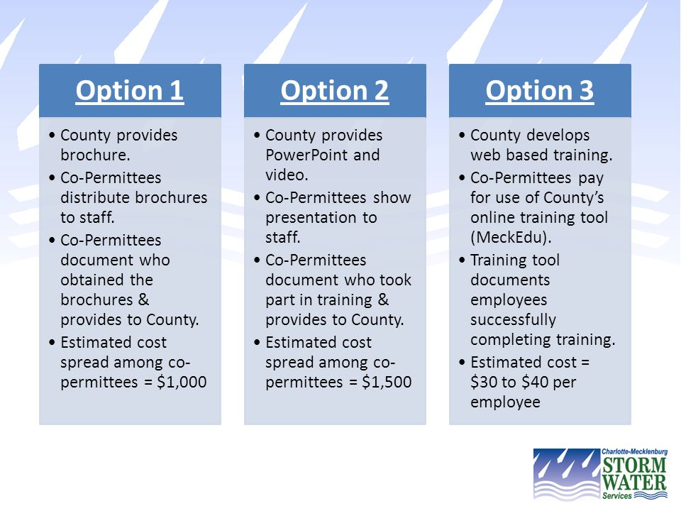 Process Forward By February 6, 2014, notify County of your preferred option for providing IDDE training to your employees.