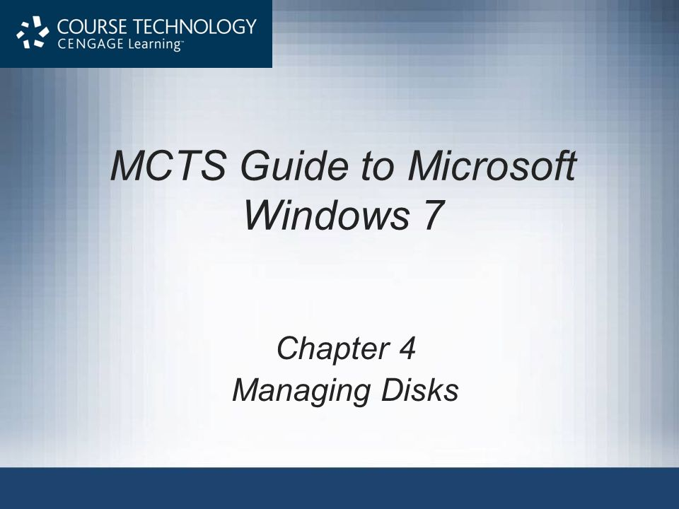 Partition and Volume Management (cont d.) Common administrative tasks for partitions and volumes include: –Creating partitions and volumes –Deleting partitions and volumes –Extending partitions and volumes –Shrinking partitions and volumes MCTS Guide to Microsoft Windows 742