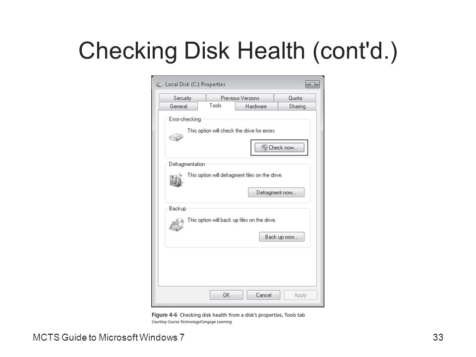 Checking Disk Health (cont'd.) MCTS Guide to Microsoft Windows 733