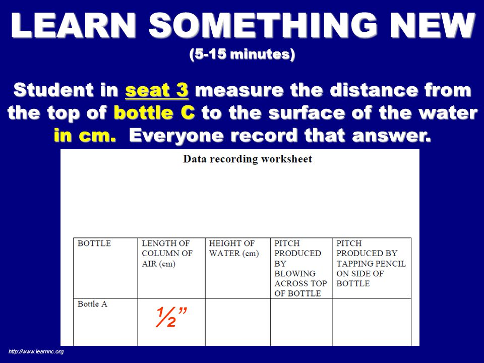 LEARN SOMETHING NEW (5-15 minutes) Student in seat 3 measure the distance from the top of bottle C to the surface of the water in cm.