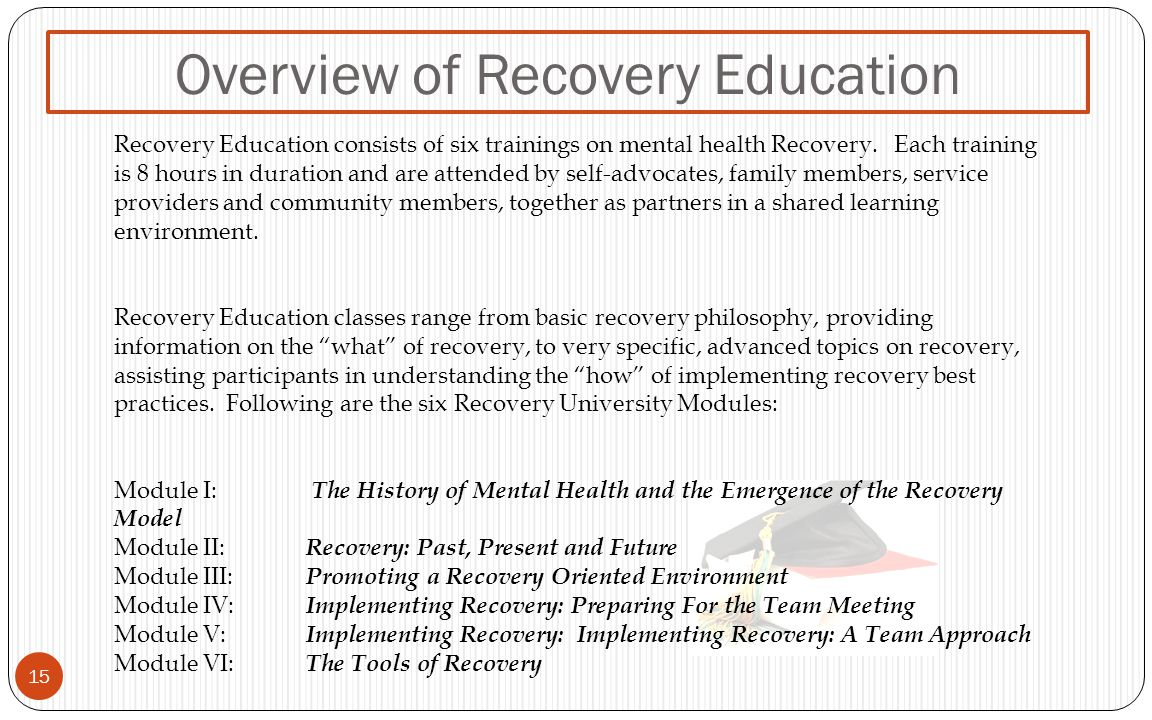 Overview of Recovery Education 15 Recovery Education consists of six trainings on mental health Recovery.