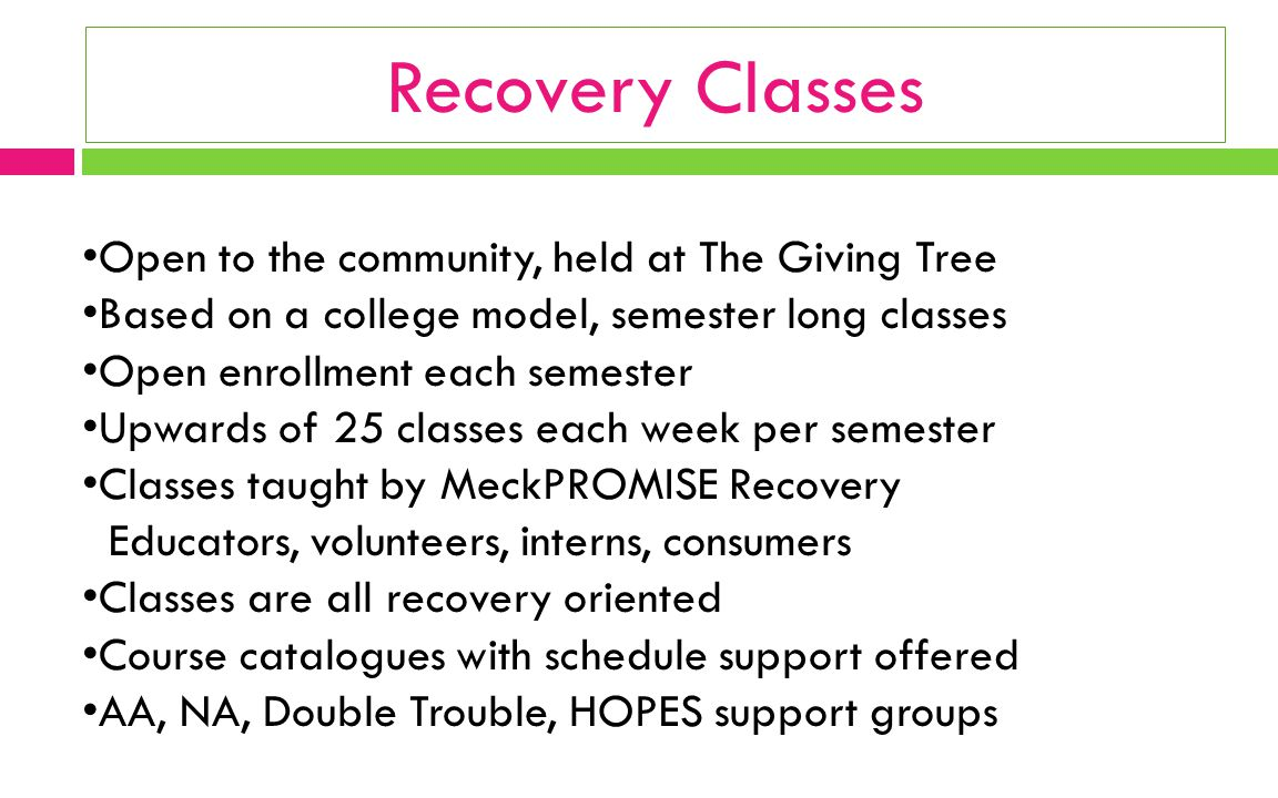 Recovery Classes Open to the community, held at The Giving Tree Based on a college model, semester long classes Open enrollment each semester Upwards of 25 classes each week per semester Classes taught by MeckPROMISE Recovery Educators, volunteers, interns, consumers Classes are all recovery oriented Course catalogues with schedule support offered AA, NA, Double Trouble, HOPES support groups