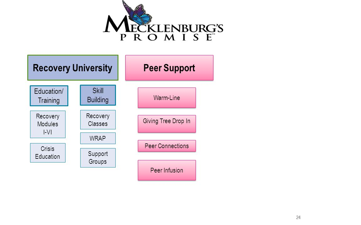 24 Peer Support Giving Tree Drop In Peer Connections Warm-Line Peer Infusion 24 Skill Building Recovery Classes WRAP Support Groups 24 Crisis Education 24 Education/ Training Recovery Modules I-VI Recovery University