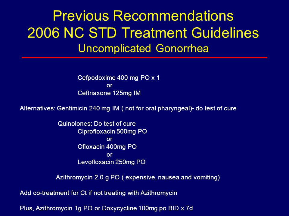 Previous Recommendations 2006 NC STD Treatment Guidelines Uncomplicated Gonorrhea Cefpodoxime 400 mg PO x 1 or Ceftriaxone 125mg IM Alternatives: Gent