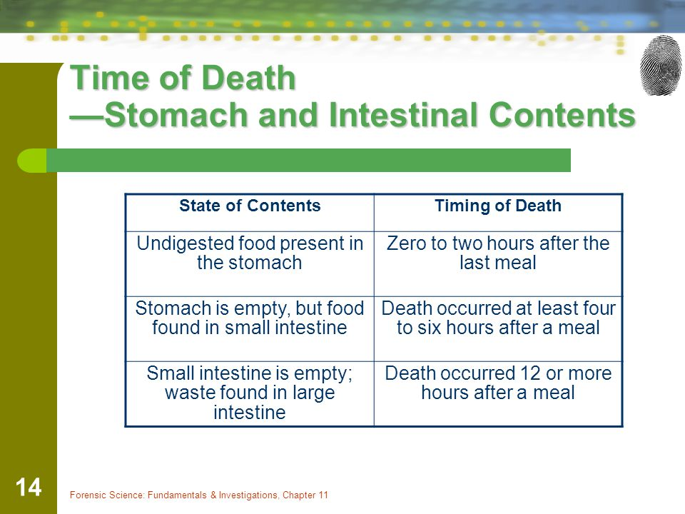 Forensic Science: Fundamentals & Investigations, Chapter 11 14 Time of Death —Stomach and Intestinal Contents State of ContentsTiming of Death Undiges