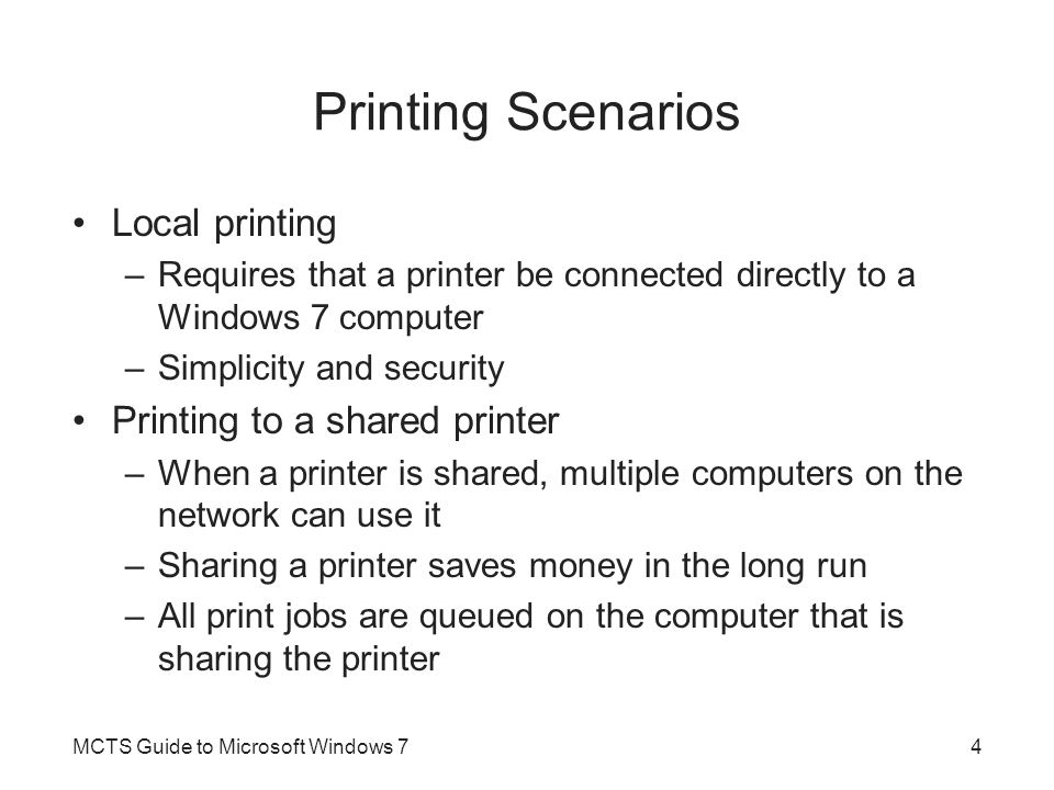 Printer Management Devices and Printer applet –Manages the printers on a local workstation –Can't install printers on remote computers –Major tasks in the Printers applet Add a printer See what's printing Set as default Select printing preferences Configure printer properties Configure printer server properties Remove device MCTS Guide to Microsoft Windows 715