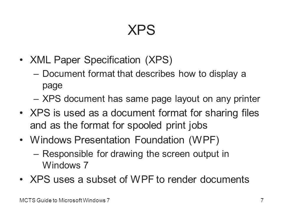 Printer Management (cont d.) Print job management –For each print job, you can: Pause Resume Restart Cancel Edit job properties MCTS Guide to Microsoft Windows 728