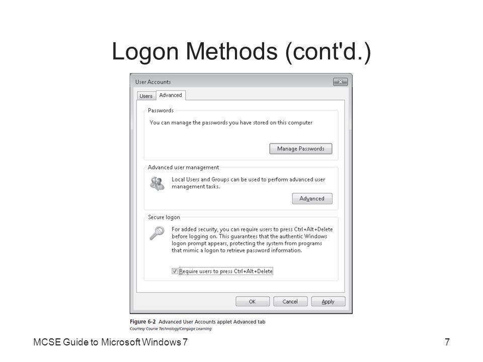 Logon Methods (cont d.) Automatic Logon –Sometimes it is desirable for the computer to automatically log on as a specific user Each time it is started –Automatic logon is configured on the Users tab of the User Accounts applet –Holding down the Shift key during the boot process stops the automatic logon from occurring MCSE Guide to Microsoft Windows 78