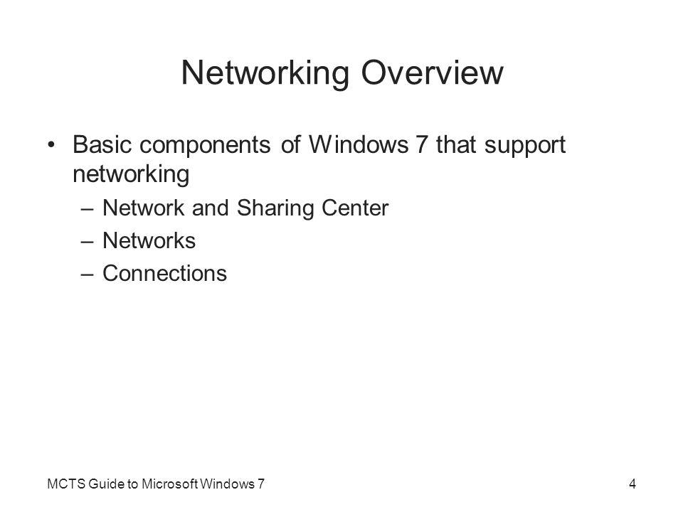 Network Architecture (cont d.) MCTS Guide to Microsoft Windows 715