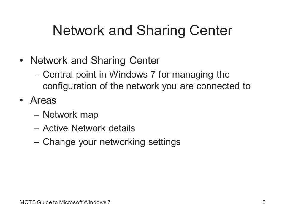 IP Version 4 Important configuration concepts of IPv4 –IP addresses –Subnet masks –Default gateways –DNS –WINS –Methods for configuring IP –Troubleshooting IPv4 MCTS Guide to Microsoft Windows 716