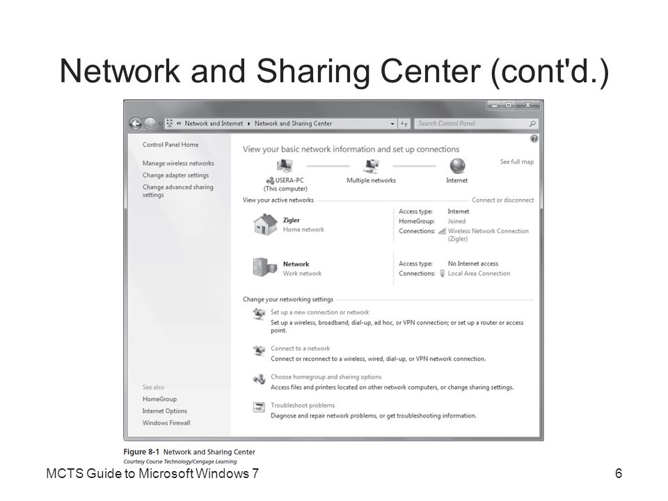 Creating and Managing Shared Folders (cont d.) Advanced Sharing –Allows you to configure options that are not available in the simpler Share with interface –Only configures share permissions –When shared folder permissions are combined with NTFS permissions Most restrictive permissions are effective –To simplify the management of permissions Assign Full Control share permission to the Everyone group Use NTFS permissions to control access to the files MCTS Guide to Microsoft Windows 747