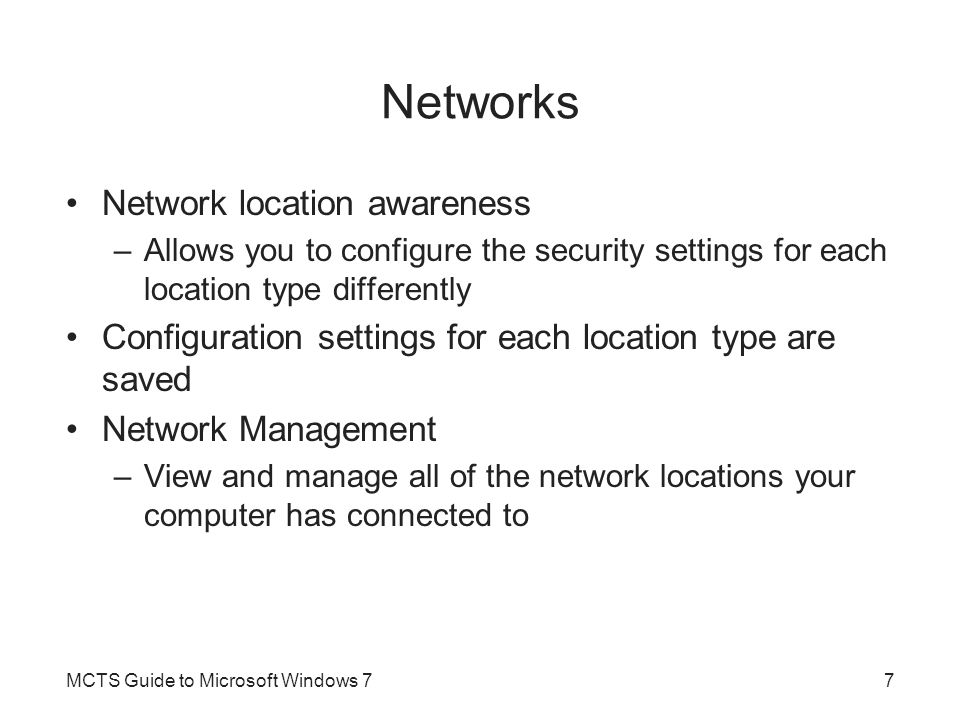 Basic Firewall Configuration (cont d.) MCTS Guide to Microsoft Windows 768