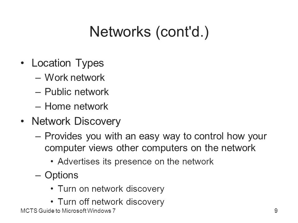 Internet Connection Sharing (cont d.) MCTS Guide to Microsoft Windows 760
