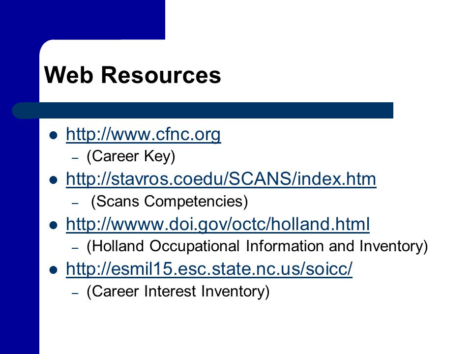 Web Resources http://www.cfnc.org – (Career Key) http://stavros.coedu/SCANS/index.htm – (Scans Competencies) http://wwww.doi.gov/octc/holland.html – (