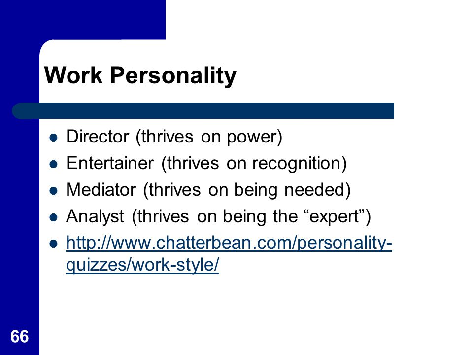 "Work Personality Director (thrives on power) Entertainer (thrives on recognition) Mediator (thrives on being needed) Analyst (thrives on being the ""ex"