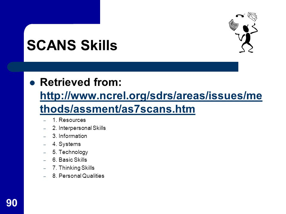 90 SCANS Skills Retrieved from: http://www.ncrel.org/sdrs/areas/issues/me thods/assment/as7scans.htm http://www.ncrel.org/sdrs/areas/issues/me thods/a