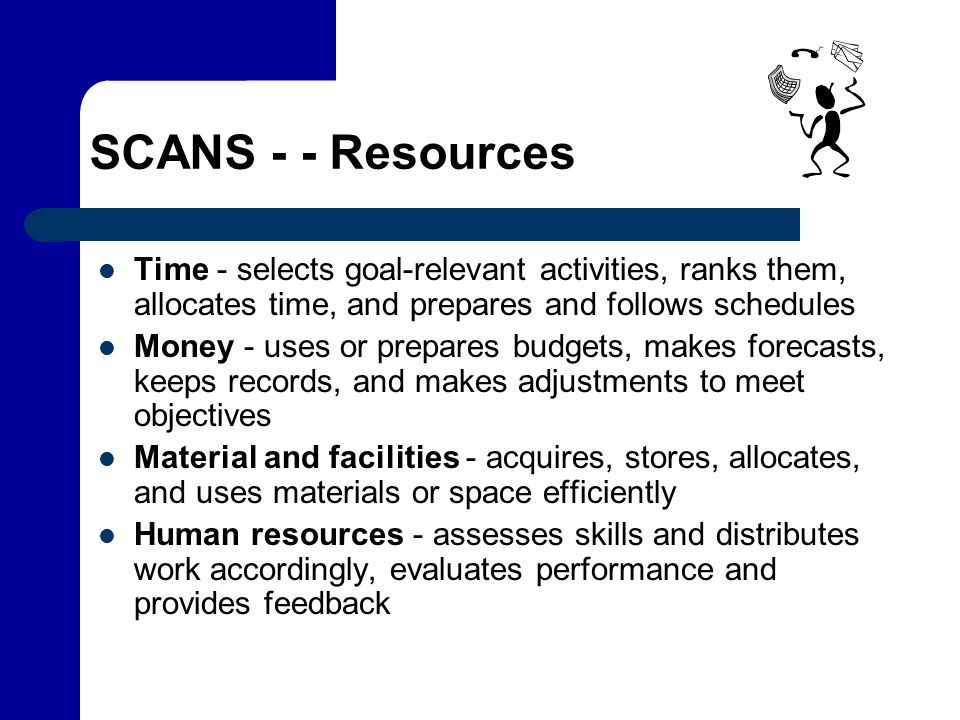 SCANS - - Resources Time - selects goal-relevant activities, ranks them, allocates time, and prepares and follows schedules Money - uses or prepares b