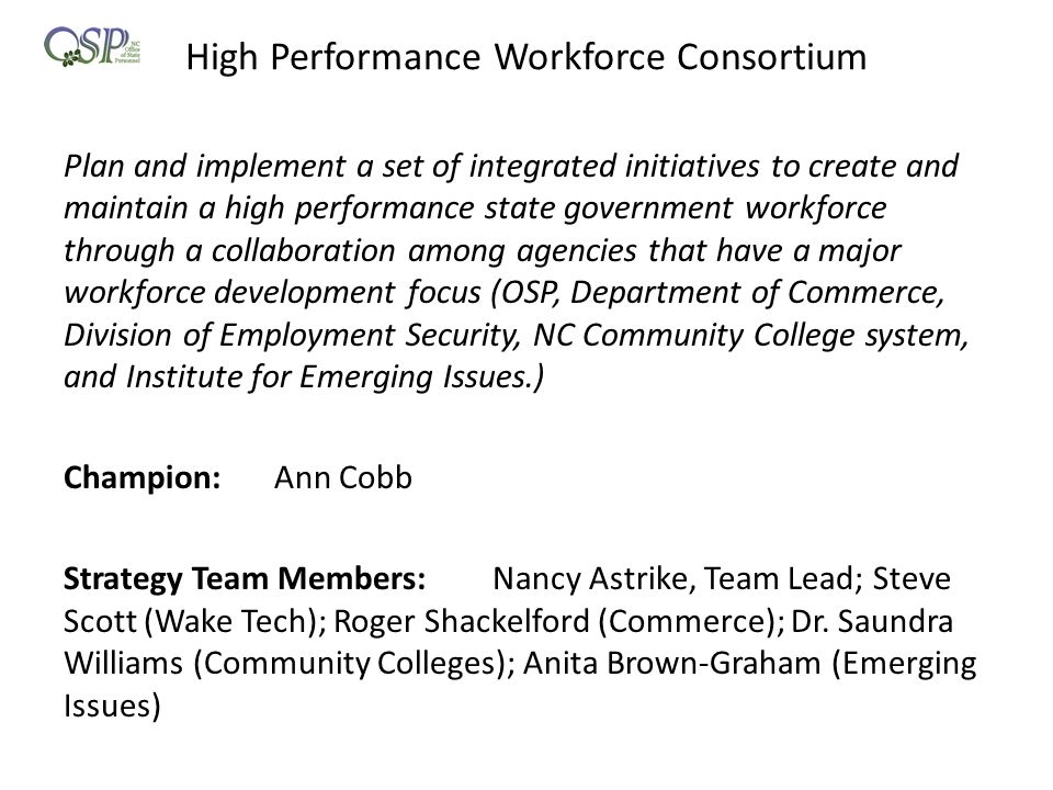 High Performance Workforce Consortium Plan and implement a set of integrated initiatives to create and maintain a high performance state government workforce through a collaboration among agencies that have a major workforce development focus (OSP, Department of Commerce, Division of Employment Security, NC Community College system, and Institute for Emerging Issues.) Champion:Ann Cobb Strategy Team Members: Nancy Astrike, Team Lead; Steve Scott (Wake Tech); Roger Shackelford (Commerce); Dr.