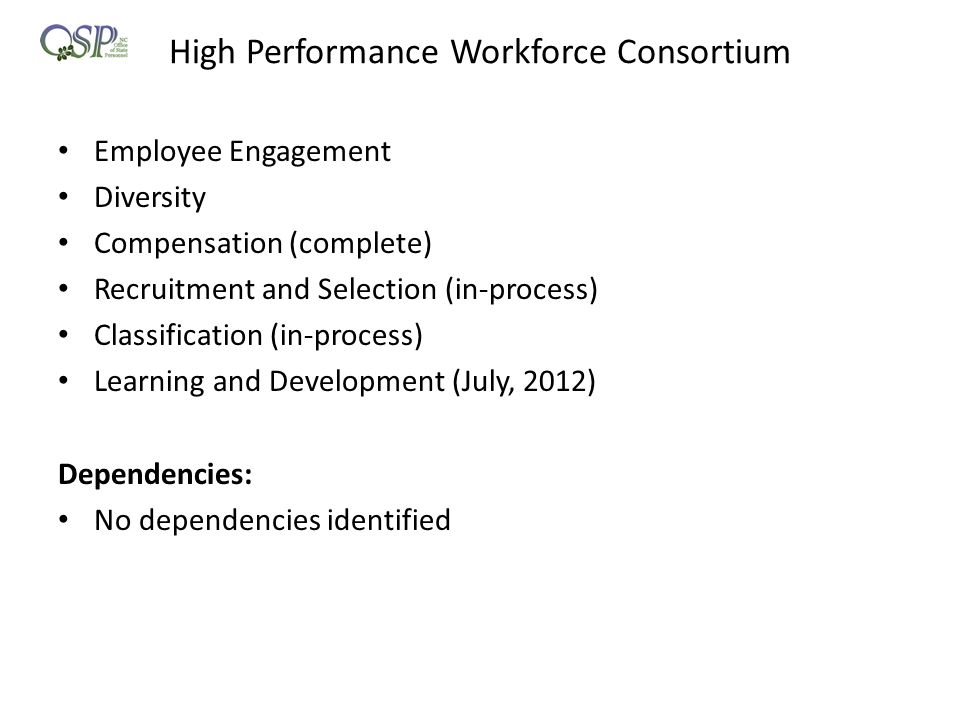 High Performance Workforce Consortium Employee Engagement Diversity Compensation (complete) Recruitment and Selection (in-process) Classification (in-process) Learning and Development (July, 2012) Dependencies: No dependencies identified